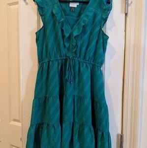 Beautiful green HD in Paris ruffle dress